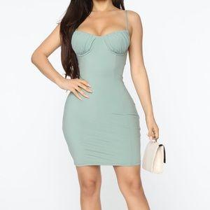 New fashion nova Bodycon Mini Dress Sage Size S